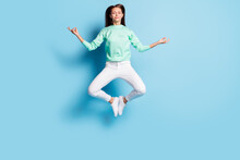 Full Length Body Size View Of Lovely Calm Focused Girl Jumping Sitting Lotus Pose Meditating Isolated On Bright Blue Color Background