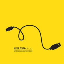 Micro Usb Cable For Charging Electronic Gadgets. Vector Illustration Of A Wire On A Yellow Background.