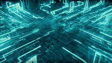 Abstract Technological Background From A Fiber Optic Glowing Beam Spreading In The Digital Space. Data Transmission In The Futuristic Industry. Colorful Blue Digitalization Process. 3d Illustration