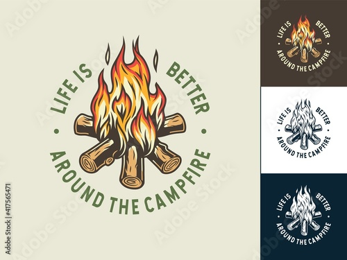 Canvas Set of camp burning campfire emblem with flame for camping design or t-shirt pri