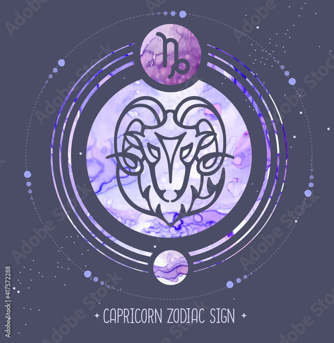 Modern magic witchcraft card with astrology Capricorn zodiac sign. Alcohol ink background. Zodiac characteristic © annbozhko