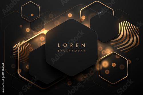 Abstract black and gold luxury background Fototapeta