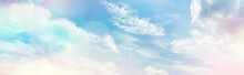 White Clouds On Blue Sky Background, Abstract Seasonal Wallpaper, Sunny Day Atmosphere