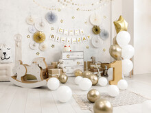 Birthday Decorations - Gifts, Toys, Balloons, Garland And Number For Little Baby Party On A White Wall Background.