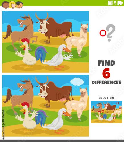 Fototapeta premium differences educational game with comic farm animals