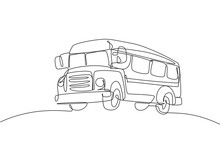 Single One Line Drawing Of Old Classic School Bus For Elementary School Student. Back To School Minimalist, Education Concept. Continuous Simple Line Draw Style Design Graphic Vector Illustration