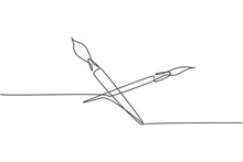 Single One Line Drawing Of Pair Paintbrush For Drawing Lesson With Watercolor. Back To School Minimalist, Education Concept. Continuous Simple Line Draw Style Design Graphic Vector Illustration