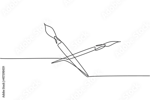Carta da parati Single one line drawing of pair paintbrush for drawing lesson with watercolor