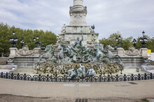 Monument Aux Girondins With Two 21-metre Rostral Columns (1829), Fountain At Place Des Quinconces. Bordeaux, France.