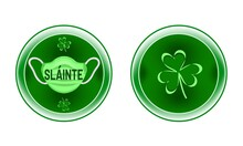 Round Green Metallic Shield For Virus Prevention, Emblem With Shamrock Leaves, Word Health (Slainte) In Gaelic. Toast, Wish, Warning Sign With Surgical Mask, Message For St. Patrick's Day, Irish Pub