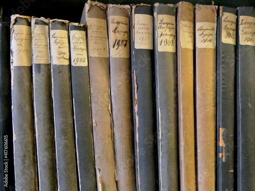 Canvas Print alte Bücher in einem Archiv