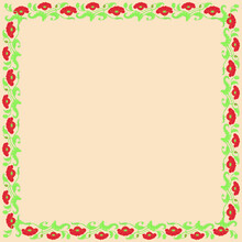 Vintage Square Frame With Red Tulips. Art Nouveau Style. Vector.