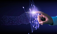 Hand Touching Modern Interface Digital Transformation Concept. Connection Next Generation Technology And New Era Of Innovation.