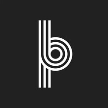 Letter BP PB Logo With Black And White Background
