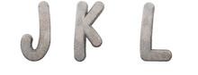 Snake Skin Alphabet. Letters J, K, L. Leather Font 3d Render. Background Remove In One Click.