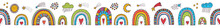 Cute Horizontal Seamless Border With Rainbows, Stars And Clouds. Linear Illustration.