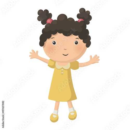 Fotografija Cute pretty young curly girl in yellow dress isolated on white background