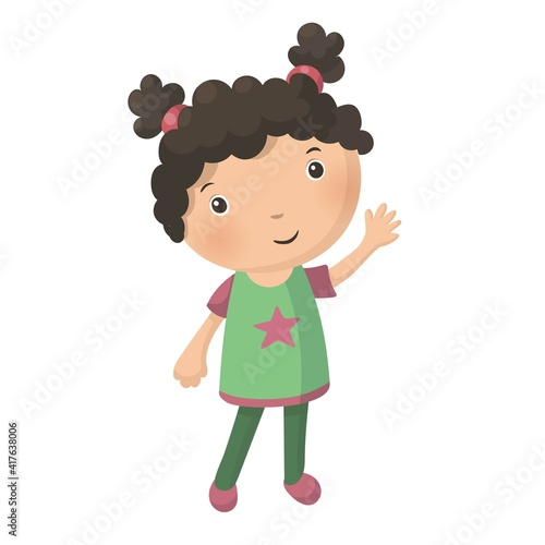 Valokuvatapetti Cute pretty young curly girl isolated on white background