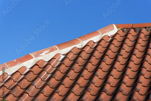 Fototapeta Replaced ridge tiles repairing previous storm and frost damage obraz