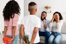 Black Kids Celebrating Mother's Day, Greeting Mum