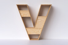 """Wood Shelving Shaped Letter """"V"""". Design Idea For Displaying Books Or Small Decorative Objects. 3D Rendering."""