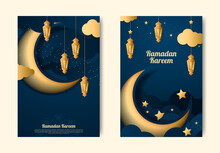Set Of Banner For Ramadan Kareem The Islamic Holy Holiday With Arabic Caligraphy Template Vector Illustration Isolated Background