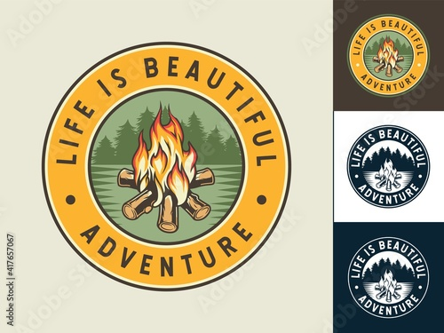 Fototapeta Set of colored patch of burning campfire with flame for camping design or t-shir