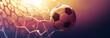 Leinwandbild Motiv Soccer ball in the net in the sunbeams. Golden background