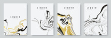 Abstract Poster Design With Curves Lines. Collection Of Gold And Black Liquid Marble Texture On White Background. A4 Size. Ideal For Banner, Flyer, Invitation, Cover, Business Card. Vector Eps 10