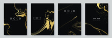 Abstract Minimalist Poster Collection With Golden Smooth Thin Ink Lines On Black Background. Luxury Banner Design. A4 Size. Ideal For Flyer, Packaging, Invitation, Cover, Business Card. Vector Eps 10