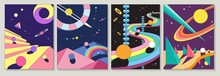 Set Of Four Different Bright Colorful Abstract Designs With Planets And Winding Road In Geometric Shapes For Posters And Cards, Colored Vector Illustrations