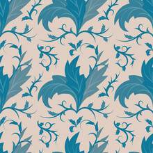 Seamless Pattern In Art Nouveau Style. Petals, Leaves, Swirls And Lines In Monochrome Dark Blue On Neutral Beige Background. Vector Illustration For Printing On Fabrics, Wallpaper Or Wrapping Paper.
