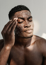 Portrait Of A Man With Glitter On His Face