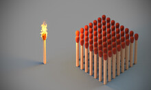 Lighted Match And Group Of Undamaged Matches.