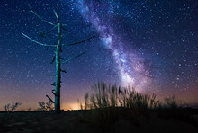 Milky Way Over Coastal Landscape, Dune Of Pilat, Arachon Bay, Gironde, Nouvelle-Aquitaine, France