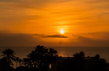 Orange Sunrise Over Mediterranean Sea. Spain