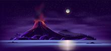 Deserted Island With Active Volcano Cartoon Vector