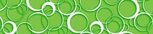 Panoramic Pattern With White Circles For Design - Circles Pattern - Modern - Abstract Background - Luxury - Green- Hd Widescreen - Glass Print - Illustration