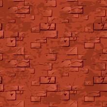 Seamless Texture Of Stone Red Old Wall.