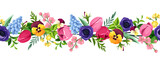 Fototapeta Tulipany - Vector horizontal seamless border with red, pink, blue, purple and yellow tulips, pansies, anemones, hyacinth and cherry flowers.