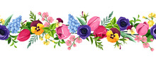 Vector Horizontal Seamless Border With Red, Pink, Blue, Purple And Yellow Tulips, Pansies, Anemones, Hyacinth And Cherry Flowers.