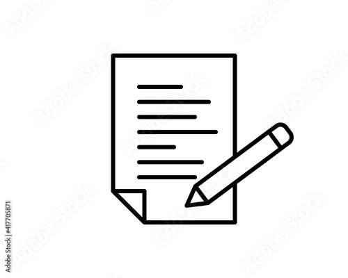 Fototapety, obrazy: Clipboard pencil vector icon. Black illustration isolated on white background for graphic and web design.