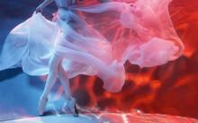 Ballerina Dancing Underwater In Waved Dress, Soft Focus