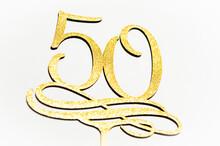 50 Anniversary Happy Birhday Wooden Letters On Backround