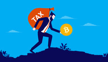 Bitcoin Tax Payment - Man Walking With Big Bag Of Tax Money While Holding Bitcoin In Hand. Vector Illustration.
