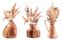 Watercolor Set Flowers In Vases With Tropical Jungle Leaves On White Background. Watercolor Painting Flower Bouquets Red, Pink Colors In Vases.