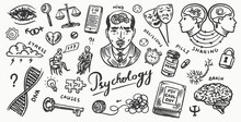 Psychology Science Poster Or Banner. Psychologist Online. Clew And Dna, Puzzle And Key. Hand Drawn Sketch. Psychological Help. Brain And Mind And Mental Health. Vintage Retro Signs. Doodle Style.
