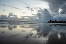 USA, California. Santa Barbara County, Leadbetter Beach At Sunset.