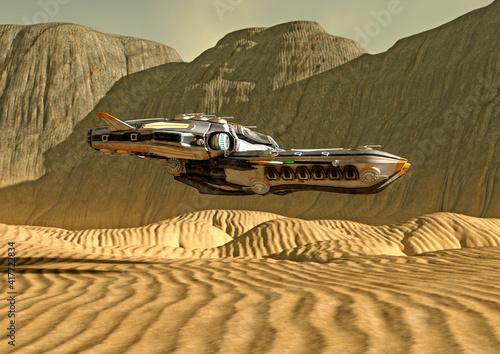 Slika na platnu super alien spaceship on the desert planet