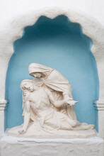USA, California, San Diego. Statues Inside Alcove At Mission San Diego De Alcala.